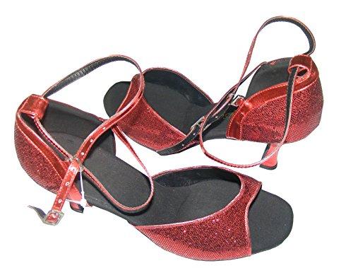 Colorfulworldstore Chaussures ouvertes de danse latine pour dame, couleur rose / rouge avec motifs hexagonaux Rouge