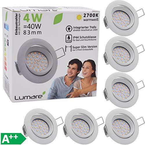 6x Lumare Slim Line Foco empotrable IP44 redondo en blanco con sólo...