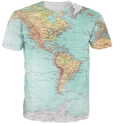 Loveternal Unisex T-Shirt 3D Vereinigte Staaten Karte Muster Gedruckt Casual Grafik Sommer Beiläufige Kurzarm Tops Tee M
