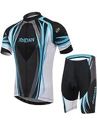 XINTOWN Homme Sport en plein air Cyclisme Vélo manches courtes Polyester Maille de nylon Breath rapide à séchage rapide 6 Taille Jersey Vêtements Vélo Habillement Set