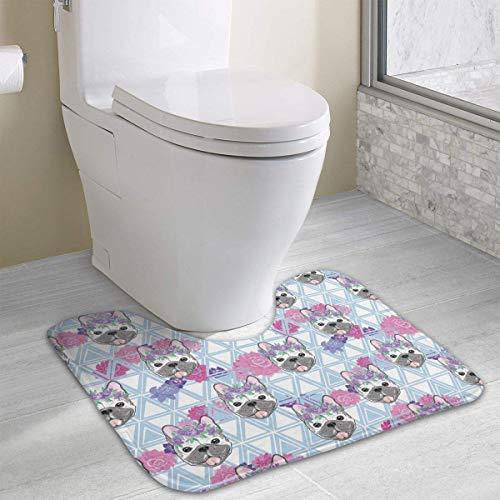 Hoklcvd Bulldog1 Pattern U-Shaped Toilet Floor Rug Non-Slip Toilet Carpets Shower Mat -