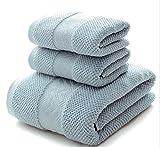 JUNHONGZHANG 3 Pcs Farbe 100% Baumwolle Handtuch Set Badetuch Für Erwachsene Gesicht Handtuch Sommer Strand Handdoek Handtuch, Blau