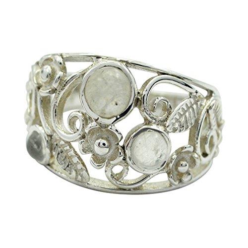 55Carat  -  Sterling-Silber 925   Rundschliff   Mehrfarbig   (Vintage-ringe 9 Größe)