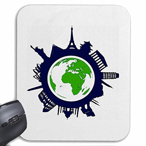 """Mousepad (Mauspad) """"WORLD TOUR DENKMÄLER DER WELT EIFFELTURM BRANDENBURGER TOR LIBERTY SEHENSWÜRDIGKEITEN ERDE PLANET"""" für ihren Laptop, Notebook oder Internet PC .. (mit Windows Linux usw.) in Weiß"""
