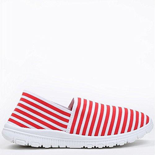 Chaussures Idéales-slip-on Un Righe En Stile Fabiana En Cours D'exécution Rosso