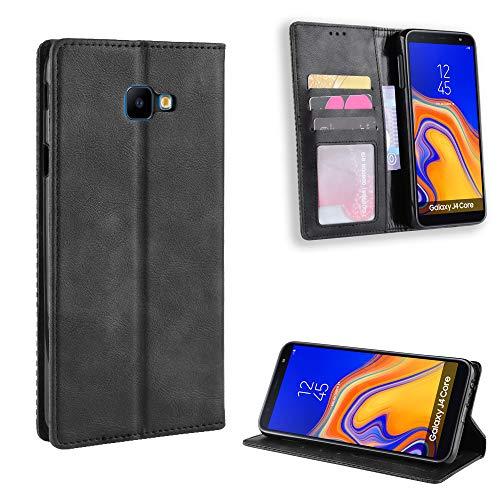 Banath Hülle für Samsung Galaxy J4 Core Lederhülle, Handy Schutzhülle PU Leder Brieftasche[Stoßfest][Kreditkarten Slot] Leder Flip Cover(Schwarz)