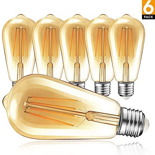 Edison Vintage Glühbirne, 4W Edison LED Retro Glühlampen, Warmweiß 2700K, ST64 E27 Antike LED Filament Lampe für Nostalgie und Retro Beleuchtung im Haus Café Bar usw, Kein Flackern - 6 Stück (Edison Lampe Leuchte)