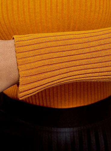 oodji Ultra Damen Enganliegender Strickpullover Gerippt Orange (5200N)