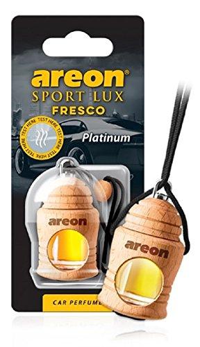 Areon Fresco Sport Lux Platinum Ambientador de Aire del Coche Colgando Espejo Retrovisor Botella de Vidrio Madera Gadget 3D Decoración Interior Casa Oficina Olores (Platino Paquete de 1)
