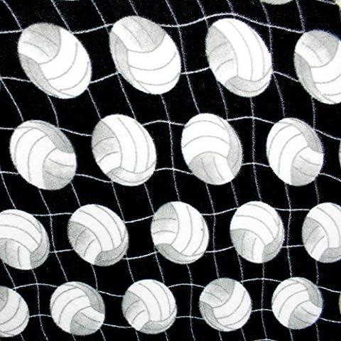 Volleyball Net Black Print Polar Soft Fleece Fabric, By The Yard (FB) by Fabric Bravo