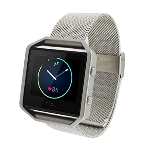 Sannysis für Fitbit Blaze Activity Tracker Uhren, echter Stahl Uhrenarmband -Handgelenk-Band-Bügel (Silber)