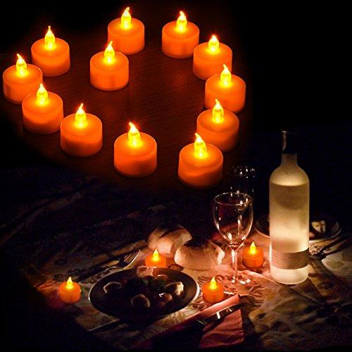 24 Piezas Lote Velas LED Velas Electrónicas LED Vela de Té Claro Sin Luz de la Lámpara de Cristal Para la Decoración Casera Boda Navidad Año Nuevo Fiesta Día de San Valentín Solicitud Mano de una Mujer Con Votivas Baterías-Blanco