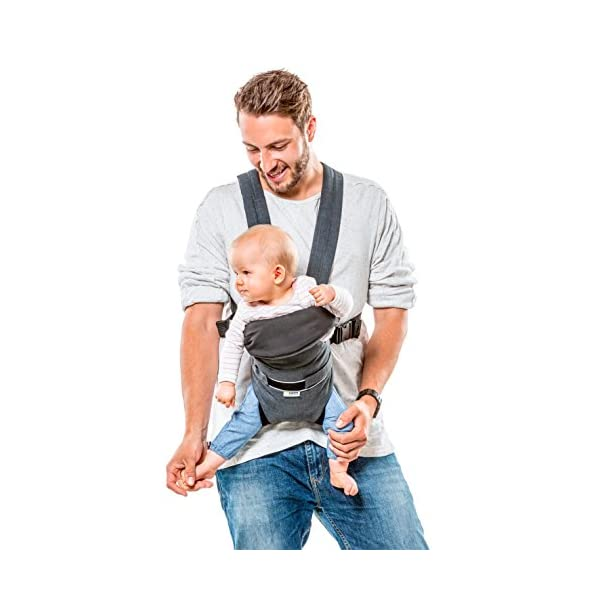 Hauck 2 Way Carrier, Ergonomic Baby Carrier Newborn to Toddler from Birth up to 12 kg, Softly Padded, Two Carrying Possibilities, High Level of Carrying Comfort, Melange Charcoal Hauck 2 carrying possibilities on the front Reinforced head and back area Safe and ergonomic baby carrier 2