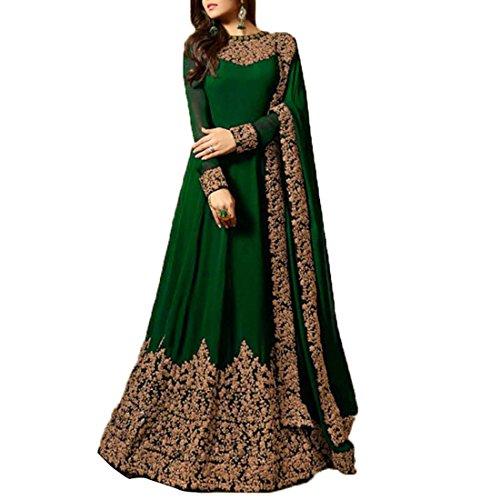Ethnic Empire Women's Fashion Georgette New Anarkali Salwar Suit (Empire_ER10811_Green_Free Size)