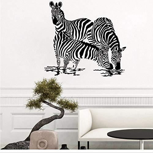 Tier Wandtattoos drei Zebra Trinkwasser Silhouette Wandaufkleber Dekoration Dschungel Wildtier Wandbild 62x57cm (Dekorationen Tisch Zebra)