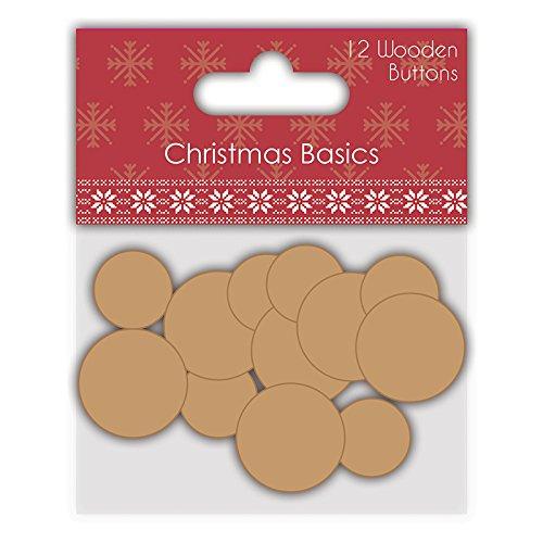 Dovecraft Natale Basics-Carta Craft-Bottoni in Legno (Confezione