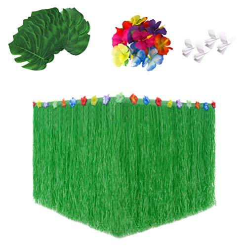 an Luau Grasgrün Party Tisch Rock mit Palm Monstera Blätter Hibiskus Blume Hawaiian Luau tropischen Party Tischdekorationen ()