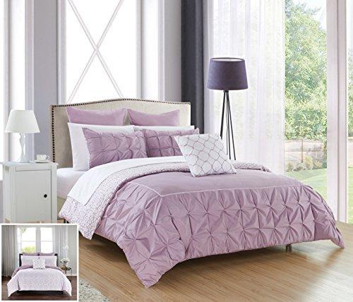 Chic Home 10Stück Assen gerüschte Pinch Falte Grenze mit Paspeln, Wende Moderne bedruckt Muster Bed in a Bag Tröster Set, Mikrofaser, lavendel, King Size