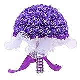 KPYjx Good-Looking Braut Hochzeit Bukett Halter Kristall Strass Künstlich Rose Blume Kugel UK für Heim Dekoration - Deep Purple