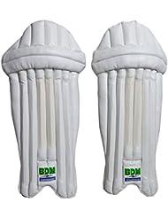 BDM Armstrong Cricket Wicket Keeping Blanc Pads Leg Guard cuir PU