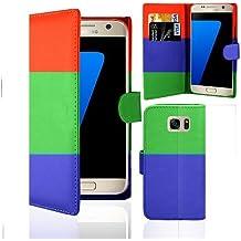 Teléfono móvil de-funda de piel con GAPlus de mapas de-soporte de pared, de piel de poliuretano-de la piel, para Samsung Galaxy + Protector de pantalla con gamuza de & lápiz capacitivo, Tempered Glass protector, Samsung Galaxy S5