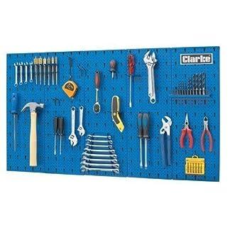 Clarke International – Tablero de pared para herramientas, acero, 113 x 1,4 x 63 cm, color azul
