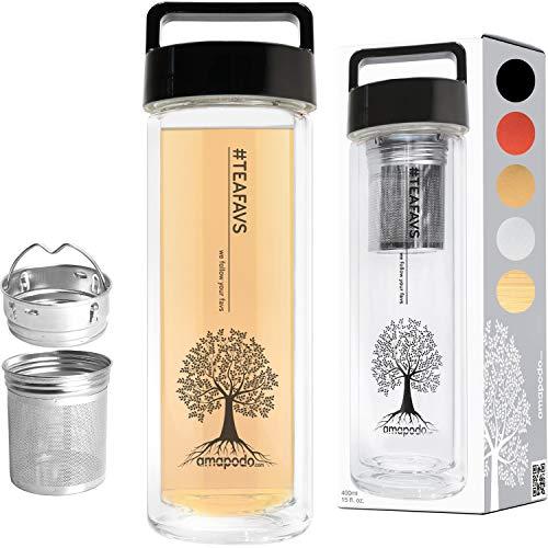 amapodo Teeflasche, Trinkflasche, Teamaker - Tee Flasche mit Sieb to go, Deckel Schwarz, Geschenk, Teekanne Glas doppelwandig, 400 ml