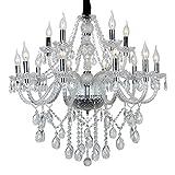 SAILUN 10+5 lustre en cristal lustre pampilles moderne vintage plafonnier lampe pendentif E14 suspension pour le salon, salle à manger, chambre à coucher (10+5 lustre)