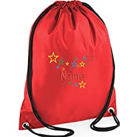 EMBROIDERED Personalised Drawstring Multi-Stars GYM Bag,Ideal for Gym ,School,, Nursery, Swim ,PE, Dance Kit, (RED)