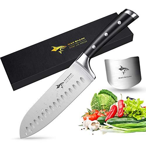 MAD SHARK Cuchillo Santoku Pro 7 Cuchillo de Cocina ,Cuchillo de Acero Inoxidable de Primera Calidad con Alto Contenido de Carbono Alemán Cuchillo Chef, Ultra Sharp