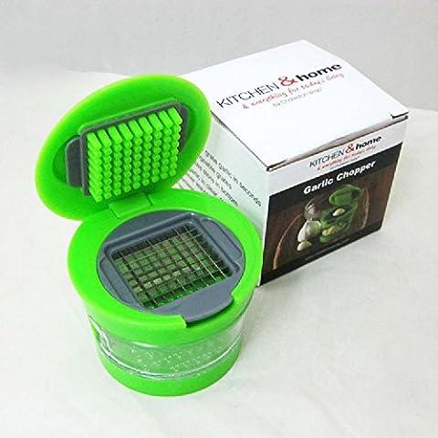 XJoel Mini aglio stampa con lame in acciaio inox e una funzione di plastica trasparente guscio aglio stampa aglio Chopper verde
