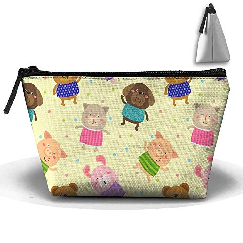 Cartoon Bear Personality Portable Women Trapezoid Travel Bag Cosmetic Bag Receive Bag