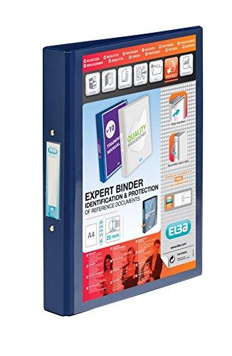 h, PVC mit transparenter Fronttasche, 4 O-Ringe, Kapazität 25 mm, Format A4, Blau (4-ring A4 Binder)