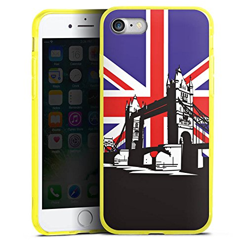 Apple iPhone 7 Silikon Hülle Case Schutzhülle London Großbritannien Tower Bridge Silikon Colour Case gelb