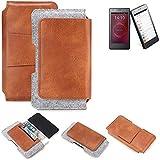 K-S-Trade Gürteltasche für BQ Readers Aquaris E4.5 Ubuntu Edition Gürtel Tasche Schutz Hülle Hüfttasche Belt Case Schutzhülle Handy Hülle Smartphone Sleeve aus Filz + Kunstleder (1