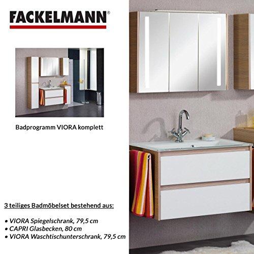 Fackelmann Badmöbel Set Viora 3-tlg. 80 cm weiß mit Waschtischunterschrank Front weiß & Glasbecken & Spiegelschrank