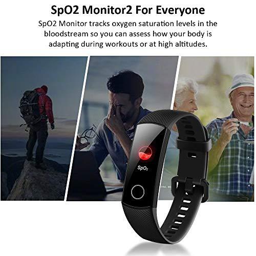 Imagen de honor band 5 smartwatch,pulsera de actividad inteligente reloj impermeable ip68 con pulsómetro,monitor de actividad deportiva, fitness tracker con podómetro negro versión global  alternativa