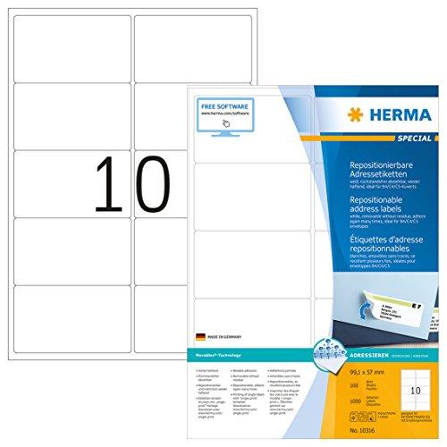Herma 10316 Adressetiketten ablösbar, wieder haftend (99,1 x 57 mm) weiß, 1000 Adressaufkleber, 100 Blatt DIN A4 Papier matt, bedruckbar, selbstklebend