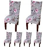 TEERFU Lot de 6housses de protection pour chaises - En Élasthanne - Amovibles et lavables - Pour hôtel ou mariage