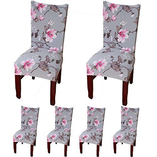 Teerfu 6 x morbido spandex elasticizzato fit sedie da sala da pranzo con motivo stampato, banchetto sedia sedile slipcover per hone party hotel cerimonia di nozze posate da pasto