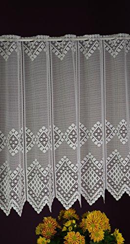 Albani - tenda a pannello su misura, in tessuto jacquard, stile rustico, lunghezza 75 cm, larghezza 16,5 cm, colore bianco