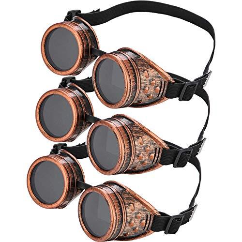 Frienda Steampunk Cyber Brille Vintage Viktorianische Brille Cyber Punk Gotik für Cosplay und Kostüme (3 Packung) (Cyber Kostüm)