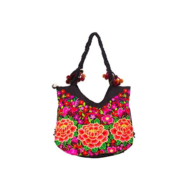 Changnoi Floral Fair Trade Beach Tote with Hmong Hill Tribe Embroidered in Black - handmade-bags