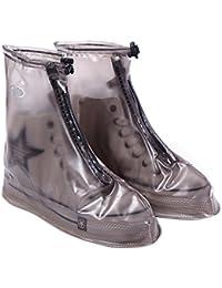 West ciclismo zapatos cubre–reutilizable impermeable lluvia botas de nieve antideslizante con cremallera PVC regla suela zapatos suelas para hombres mujeres (blanco, azul, marrón, rosa), hombre Infantil mujer, marrón, XXXL