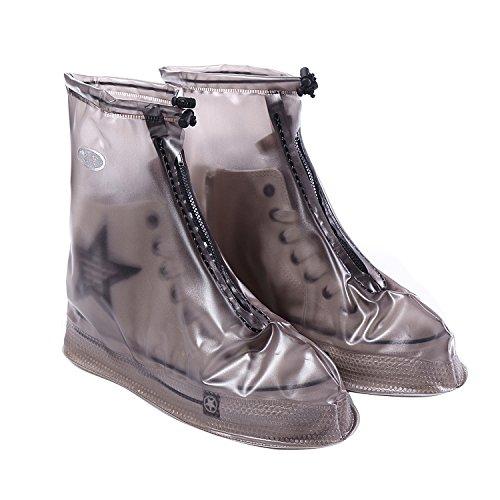 Westbiking copriscarpe impermeabile riutilizzabile scarpe e stivali copre di tessuto elastico, con cerniera addensare suola antiscivolo resistente all' usura scarpe copertura, Black, 3XL