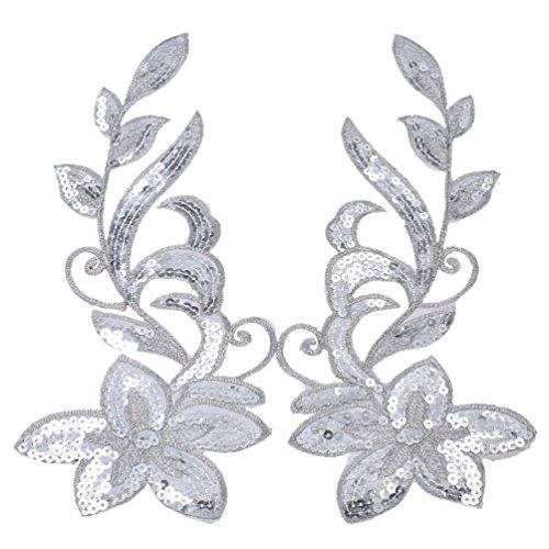Kesheng Paar Bügelbild Aufnäher Blumen Pailletten Golden Rot Silber Grün Blau Weiß Lila Pink Patch MEHRWEG -