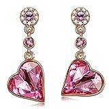 PAULINE&MORGEN Corazón de Rosa Pendientes para Mujer fabricados con cristales SWAROVSKI