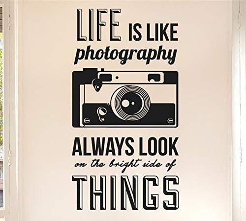 Das Leben ist wie Fotografie Zitate Kamera Wandaufkleber Art Vinyl Home Decor Wandtattoo DIY Wohnzimmer Wanddekoration Papier 42x80cm