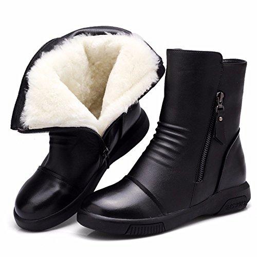 HXVU56546 Inverno Scarpe Donna Stivali Più Caldi In Velluto Stivali Stivali Di Martin Piatte Spesse Scarpe Di Cotone black