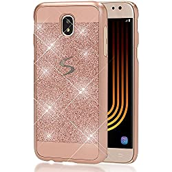 Samsung Galaxy J7 2017 (EU-Model) Funda Carcasa de NICA, Protectora Movil Purpurina Cubierta Dura Glitter Hard-Case, Bumper Cover Lentejuela Ultra-Fina para Telefono Samsung J7 17, Color:Rosa Gold Oro